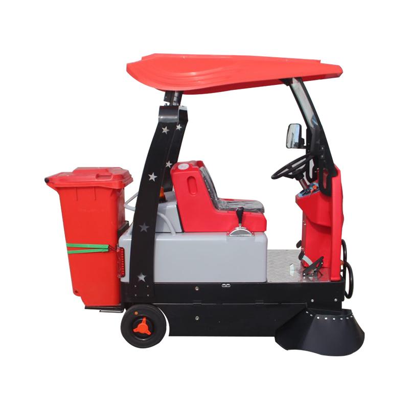洁满仓1350L型驾驶式扫地机 集扫地、吸尘于一体的扫地机,无二次扬尘,无噪音,无废气排放,绿色环保。适用于:公园、街道、等区域。